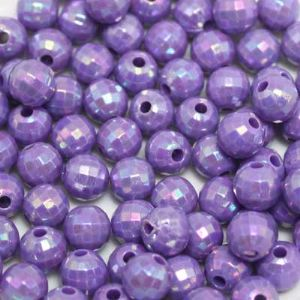 Beads, Acrylic, Light purple, Spherical, Diameter 7mm, NA, 40 Beads, (SLZ0213)